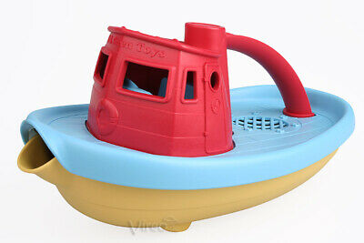 GreenToys DAMPFSCHIFF Dampfer blaues Deck, Spielzeugboot Kinderboot tugboat Boot