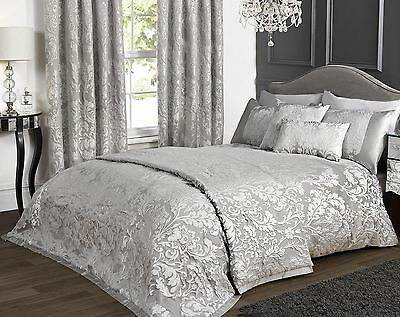 Marston Damask Duvet Cover Embossed Floral Motif Silver Grey Quilt Bedding Set