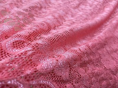 Lace Fabric - Coral Pearl - Beautiful Stretch Lace Dress Fabric