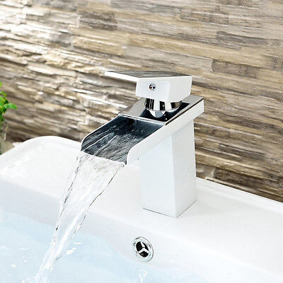 Waterfall Basin Sink Tap Square Mixer Chrome Mono Bathroom Cloakroom Faucet 2016