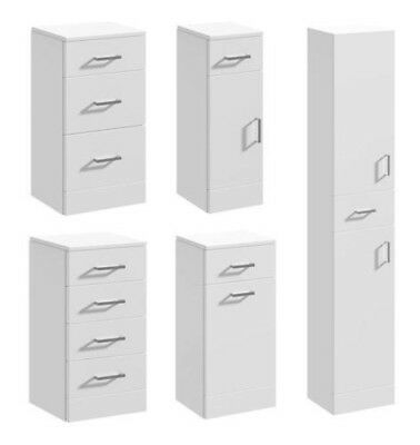 Modern Gloss White Bathroom Cloakroom Vanity Cabinet Cupboard Furniture Units