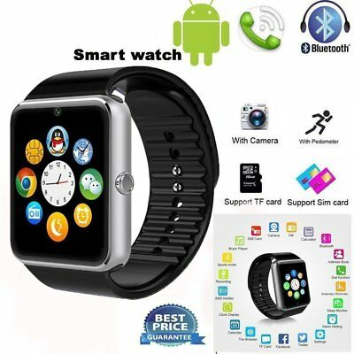 "Black 1.54"" GT08 Touch Screen Bluetooth Smart Watch Phone Mate For Android IOS"