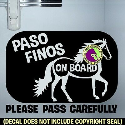 PASO FINOS HORSES ON BOARD #2 Vinyl Decal Sticker Fino Trailer Caution Sign BL