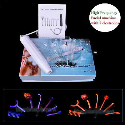 New Portable High Frequency Facial Machine with 7 Electrodes Ance Skin Care