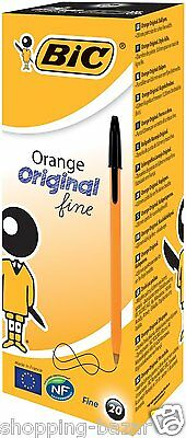 Bic ORANGE Fine Ballpoint Ball Pens Choose Colour From Black/Blue/Red/Green NEW