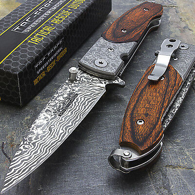 "7"" DAMASCUS STYLE SPRING ASSISTED TACTICAL FOLDING KNIFE Blade Pocket Wood"