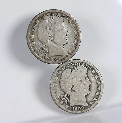 Raw Barber 50C 2 Pack 1894 1898-O Circ Lot Of Silver Half Dollar US Coins
