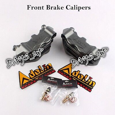 Aluminum Alloy Motorcycle Front Brake Calipers w/ Four-Piston Calipers Gray New