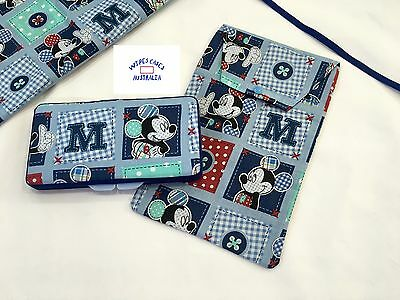 Blue Mickey Wipes Case & Nappy Pouch Set - Perfect Gift For Baby Shower