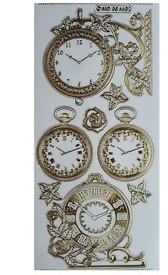 EMBOSSED CLOCKS Peel Off Stickers Metallic Gold Antique Clock Pocket Watch
