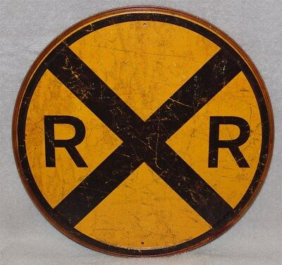 Round Metal Weathered Railroad Crossing Collectible Sign, New!