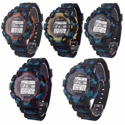 Fashion Men Waterproof LED Digital Date Military Sport Rubber Quartz Watch Alarm