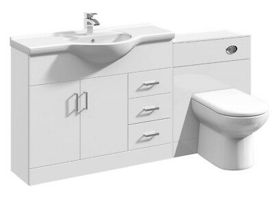 1650mm High Gloss White Bathroom Vanity Basin Sink Cabinet & WC Toilet Furniture