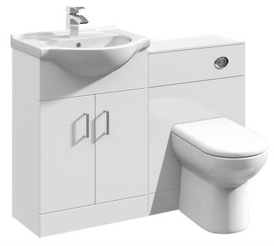 1150mm High Gloss White Bathroom Vanity Basin Sink Cabinet & WC Toilet Furniture