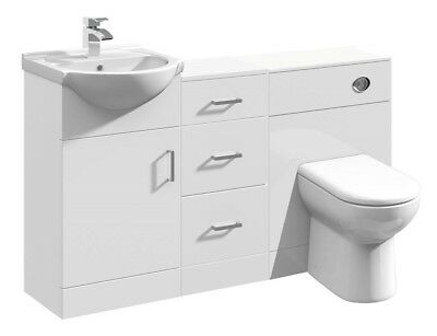 1300mm High Gloss White Bathroom Vanity Basin Cabinet, Drawer Unit & BTW Toilet