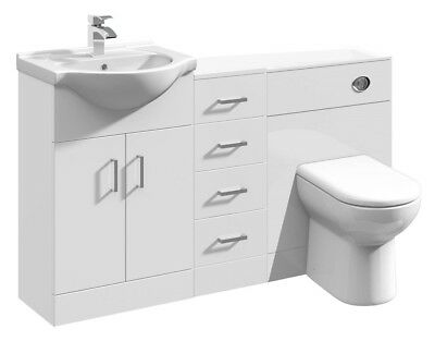 1350mm High Gloss White Bathroom Vanity Basin Cabinet, Cupboard & BTW Toilet