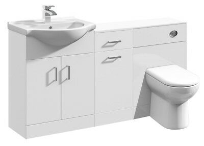 1400mm High Gloss White Bathroom Vanity Basin Unit Laundry Cupboard BTW Toilet