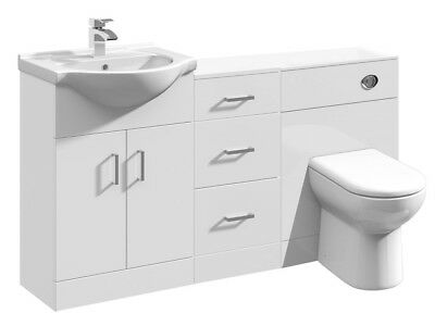 1400mm High Gloss White Bathroom Vanity Basin Cabinet, Cupboard & BTW Toilet
