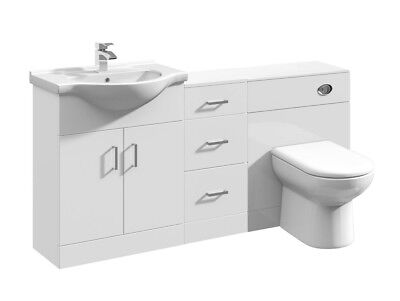 1600mm High Gloss White Bathroom Vanity Basin Cabinet, Cupboard & BTW Toilet