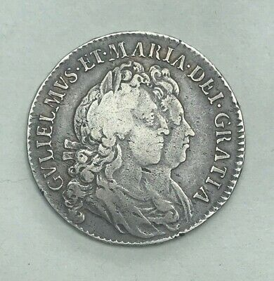 Collectable 1691 William & Mary Half-Crown - 2nd Bust WM Monogram In Angles
