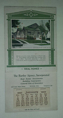 1922 Advertising Calendar The Hartley Agency Incorporated Real Estate - 12 Pages