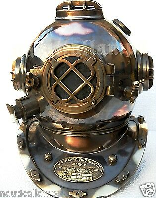 Antique U.S Navy Brass Divers Diving Helmet Mark V FULL SIZE Deep sea Scuba gift