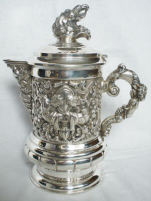 Solid Silver Pitcher Jugs Spain 20th after 1934 Beautiful Baroque Scenes 867 gr