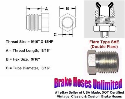 """MALE TUBE NUT - 9/16"""" x 18, Double Flare, 3/16"""" Line"""