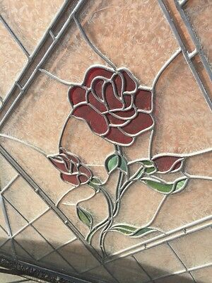 Leaded Glass Window With Stainglass Roses 6'x 4'