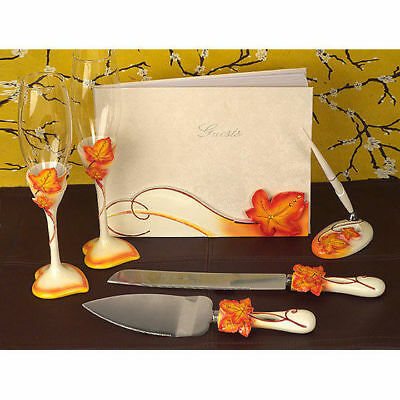 Autumn Wedding Accessories Set Cake Serving Toasting Flutes Guest Book Pen