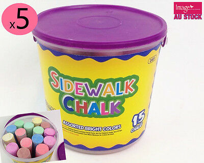 4x Pack of 20pcs Jumbo Chalk Classic Craft Kids Art Chalk with Bucket KD54400