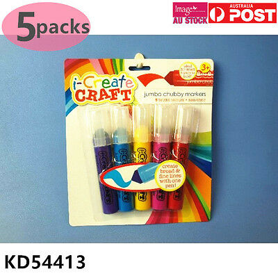 5x Pack of 5 Jumbo Chubby Marker Non Toxic Broad and Line Tip Kids Craft KD54413