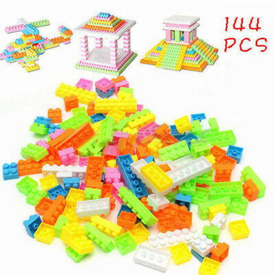 144 Plastic Building Blocks Colour Construction Bricks Children Kid Puzzle Toy