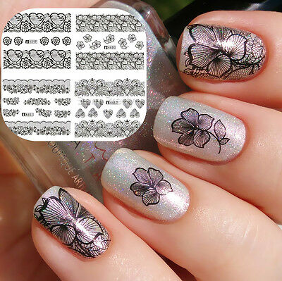 Nail Art Water Decals Transfer Sticker Lace Flower Heart DIY Tips