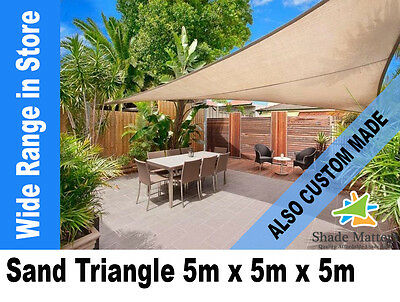 New Extra Heavy Duty Shade Sail- Triangle 5m x5m x 5m Sand Color
