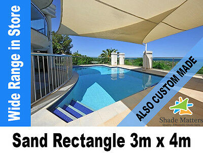 New Extra Heavy Duty Shade Sail- Rectangle 3m x 4m Sand Color Also Custom Made