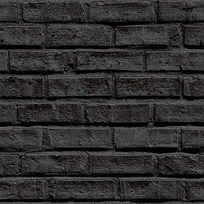 Industrial Look Black Brick Effect Wallpaper - 10m Roll - Flat Surface