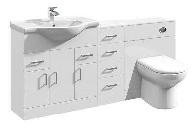1650mm High Gloss White Bathroom Vanity Basin Cabinet, Cupboard & BTW Toilet