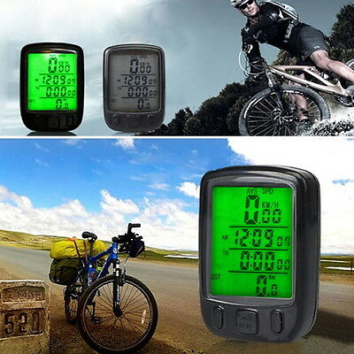 Bicycle Wired LCD PC Odometer Speedometer Waterproof + Green Backlight Hot FE