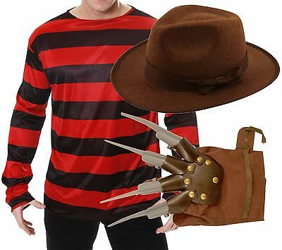 Freddy Freddie Krueger Elm St Halloween Fancy Dress Costume Jumper Hat Glove