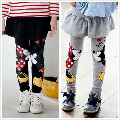 Fashion Children Baby Girls Skirt Trousers Mickey Minnie Pants Leggings 2-7Y
