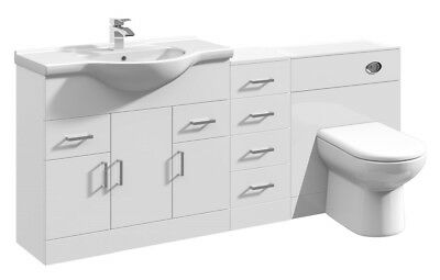 1750mm High Gloss White Bathroom Vanity Basin Cabinet, Cupboard & BTW Toilet