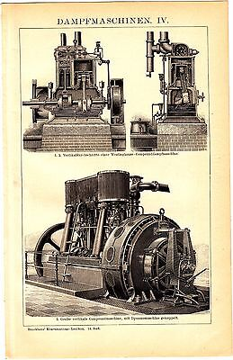 ca1900 Steam Engine, Heavy Machinery, Steam Punk, Steam Engines,Antique Print