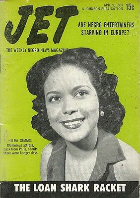 April 9 1953 Jet Magazine HILDA SIMMS NEGRO ENTERTAINERS STARVING IN EUROPE GIFT