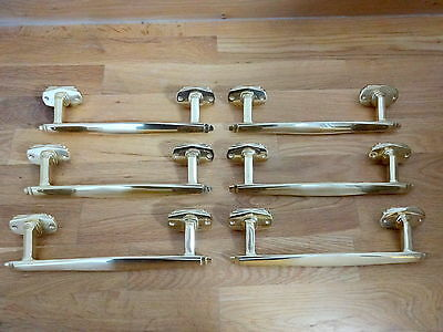3 Pairs Of Brass Art Deco Door Pull Handles Knobs Plates Finger Push