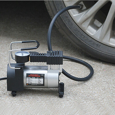 12V  Mini Metal Pump Heavy Duty Air Compressor Tire Inflator Gauge Convenience