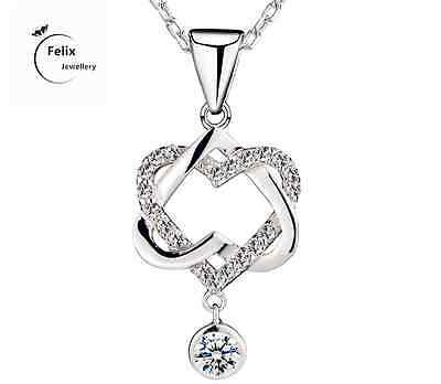 Double Love Heart 925 Sterling Silver Pendant Necklace Chain Jewelly Gifts UK