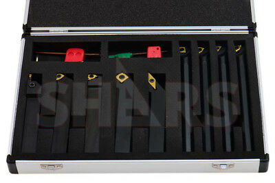 "Shars 3/4"" x 3/4"" x 4"" Turning Tool Holder & 5/8"" x 7"" Boring Bar 9pcs Set New"