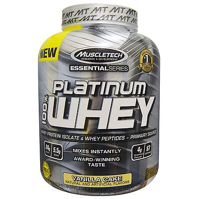 Muscletech Platinum 100% Whey Protein Vanilla Cake 5Lbs  Ultra Pure Free Tracked