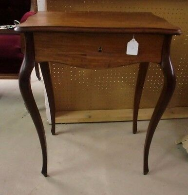 Mahogany Shaped Legs and Top One Drawer Stand Table
